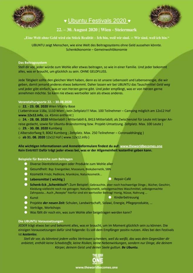 Infoblatt Ubuntu Festivals 22. - 30. August 2020