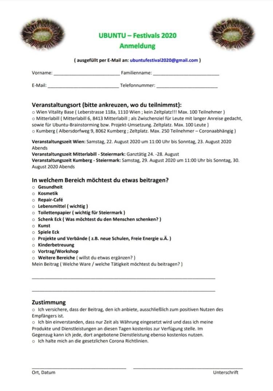 UBUNTU Festivals 2020 Anmeldeformular